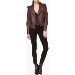 PAIGE Women's Annika Moto Jacket - Dark Currant Leather | Size Small found on Bargain Bro India from Paige for $699.00