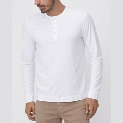 PAIGE Men's Garrett Henley Jersey Tee Shirt - Fresh White | Size Large | Long Sleeves found on Bargain Bro India from Paige for $109.00