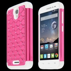 Alcatel Onetouch Pop Astro Case, Standard Pink Bling Gems Protective Hard Case Cover