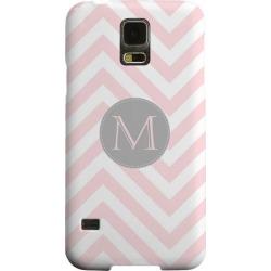 Samsung Geeks Designer Line (gdl) Galaxy S5 Matte Hard Back Cover - Gray Button Monogram M On Pale Pink Zig Zags