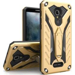 Alcatel Fierce 4 Case, Static Dual Layer Hard Case Tpu Hybrid [military Grade] W/ Kickstand & Shock Absorption [gold/ Black]