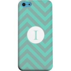 Apple Geeks Designer Line (gdl) Iphone 5c Matte Hard Back Cover - Seafoam Green Monogram I On Zig Zags