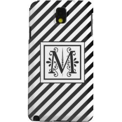 Samsung Geeks Designer Line (gdl) Galaxy Note 3 Matte Hard Back Cover - Vintage Vine Monogram M On Black Slanted Stripes