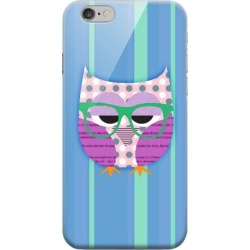 Apple Geeks Designer Line (gdl) Iphone 6 Matte Hard Back Cover - Hipster Owl On Blue/green Stripes