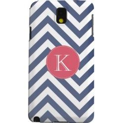 Samsung Geeks Designer Line (gdl) Galaxy Note 3 Matte Hard Back Cover - Cherry Button Monogram K On Navy Blue Zig Zags