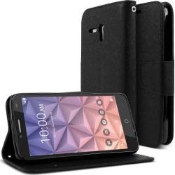 Alcatel Onetouch Fierce Xl Case, [black] Faux Leather Front Flip Cover Diary Wallet Case W/ Magnetic Flap