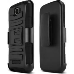 Alcatel Black One Touch Fierce 2 Dual Layer Hard Case W/ Kickstand On Black Silicone Skin Case W/ Holster - Great Protection