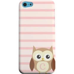 Apple Geeks Designer Line (gdl) Iphone 5c Matte Hard Back Cover - Brown Owl Monogram C On Pink Stripes