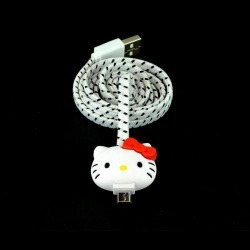 Universal Hello Kitty White Micro Usb Charge & Sync Data Cable