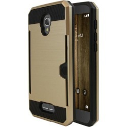 Alcatel Fierce 4 Case, Super Slim Brushed Metallic Hybrid Hard Cover On Tpu W/ Card Slots [gold]