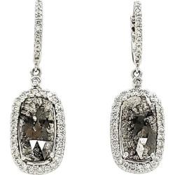 Black Diamond Slice And White Diamond Earrings