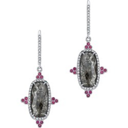 Gray Diamond Slice And Ruby Earrings With Diamond Pave In 18k Matte White Gold found on Bargain Bro Philippines from 1stDibs for $6100.00