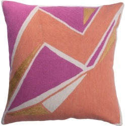 Modern Geometric Detroit Blush Hand Embroidered Throw Pillow Cover found on Bargain Bro Philippines from 1stDibs for $128.00