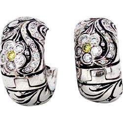 Yellow Diamond And White Diamond Earrings
