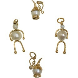 Four Articulated Gold Pearl Retro Charms Estate Find