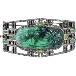 Green Jade Bangle With Diamonds And Emeralds