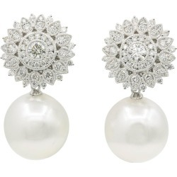 Diamond Sunflower With South Sea Pearl Drop Earrings 1.35 Carats 18k found on Bargain Bro India from 1stDibs for $4991.00