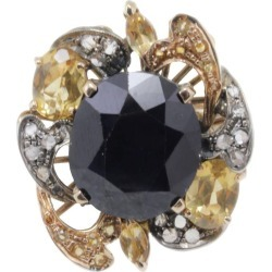 Diamond, Australian Blue Sapphire, Yellow Sapphires Rose Gold And Silver Ring found on Bargain Bro India from 1stDibs for $683.09