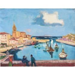 August Philipp Henneberger, 'The Basque Harbor at Bermeo, Spain', Munich Art Academy, Karl Caspar, 1951 found on Bargain Bro Philippines from 1stDibs for $3950.00