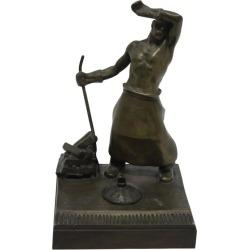 Austrian Bronze Desk Set Smelter By Heinrich Krippel