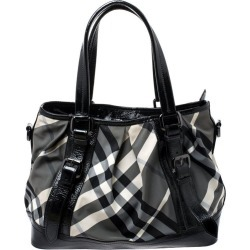 Burberry Grey/black Beat Check Canvas And Patent Leather Lowry Tote found on Bargain Bro India from 1stDibs for $766.00