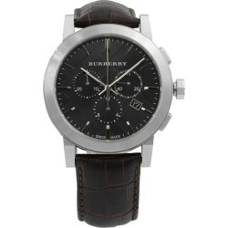 Burberry The City Chrono Steel Leather Black Dial Quartz Men's Watch Bu9356 found on Bargain Bro from 1stDibs for USD $166.44
