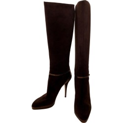 Jimmy Choo Chocolate Brown Suede Back Zip W/ Copper Snake Accents Knee Boots found on MODAPINS from 1stDibs for USD $950.00