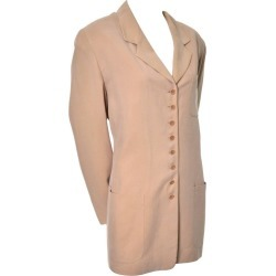 Emanuel Ungaro Sueded Beige Silk Vintage Blazer 14/48 found on MODAPINS from 1stDibs for USD $200.00