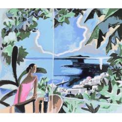 Yoshito Hirano, 'Mimosa Tree Restaurant, Santorini', Agaean Sea, Greece, Japanese artist, Circa 1970 found on Bargain Bro Philippines from 1stDibs for $1250.00
