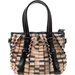 Burberry Black/beige Nova Check Pvc And Patent Leather Cartridge Pleat Tote found on Bargain Bro from 1stDibs for USD $1,218.28