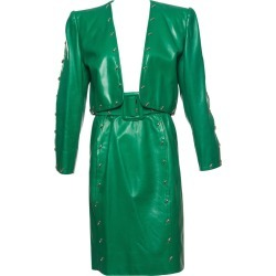 Givenchy Couture Green Leather Studded Skirt Suit, Circa 1980s found on Bargain Bro India from 1stDibs for $1500.00