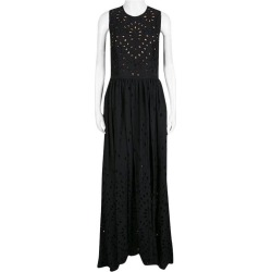 Elie Saab Black Eyelet Embroidered Gathered Sleeveless Maxi Dress S found on MODAPINS from 1stDibs for USD $492.00