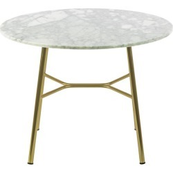 Little Table Yuki, Metal Frame, Round, White Color, Design, Coffee Table, Marble