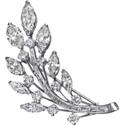Diamond Platinum Leaf Brooch found on Bargain Bro India from 1stDibs for $37290.00