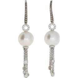 Classic Brown And White Diamond Earrings