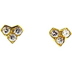 18 Karat Yellow Gold Diamond Earrings