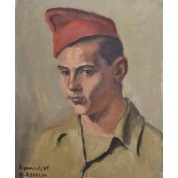 Maurice Asselin, Maurice Asselin (1882-1947) Portrait of Bernard in uniform, 1945, oil on canvas, 1945 found on Bargain Bro from 1stDibs for USD $1,177.20