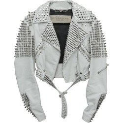 Burberry White Leather Jacket With Silver Studs 2015 found on Bargain Bro India from 1stDibs for $4500.00