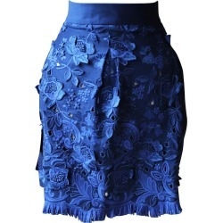Ermanno Scervino Floral-appliqu�d Wool Guipure Lace Mini Skirt found on MODAPINS from 1stDibs for USD $408.88