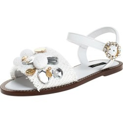 Dolce & Gabbana White Patent Leather And Crystal Embellished Flat Sandal Size 38 found on Bargain Bro India from 1stDibs for $879.00