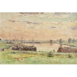 Henri Duhem, Fishing boats moored - Impressionist Watercolour, Landscape by Henri Duhem, c.1910 found on Bargain Bro from 1stDibs for USD $878.13
