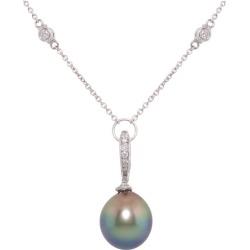 Ella Gafter Tahitian Pearl Diamond Pendant Necklace
