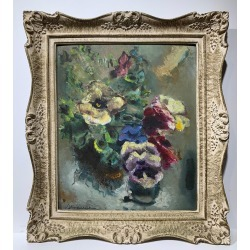 Sterling Boyd Strauser, Floral Still Life (abstract pansy flower arrangement), ca. 1960 found on Bargain Bro Philippines from 1stDibs for $1200.00