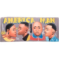 america Man Hand-painted African Barbershop Sign found on Bargain Bro Philippines from 1stDibs for $680.00