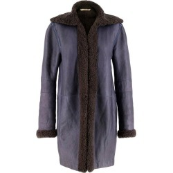 Balenciaga Shearling Lined Blue Leather Coat S 38 found on Bargain Bro Philippines from 1stDibs for $614.48
