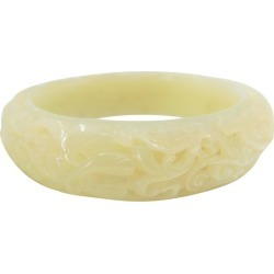 Nephrite White Jade Bangle, Hollowed Carving, Flower And Phoenix Motif