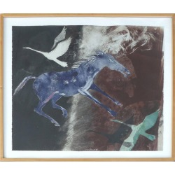Mary Frank Original Abstract Of Birds And A Horse On Paper, 1985