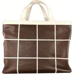 Ralph Lauren Brown & White Window Pane Print Tote Handbag found on Bargain Bro from 1stDibs for USD $218.88