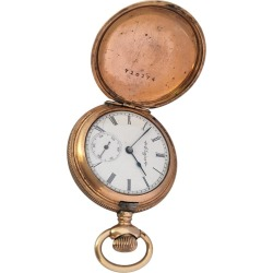 Small Antique Gold-plated Full Hunter Elgin National Watch Co. Pocket Watch found on MODAPINS from 1stDibs for USD $546.47