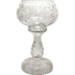 Victorian American Cut Crystal Bowl Reversible Pedestal Stand Estate Find